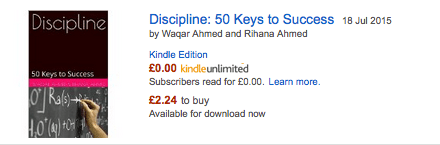 Discipline: 50 Keys to Success is at No 12 in Amazon Best Sellers List (1/2)