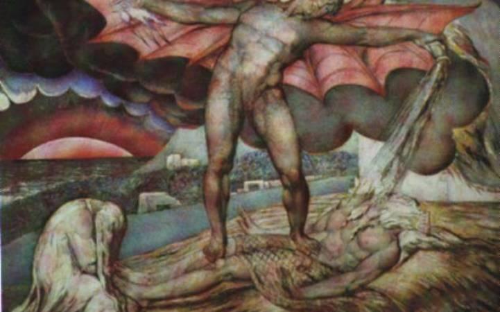 Satanás golpea violentamente a Job con forúnculos (1826) de William Blake.