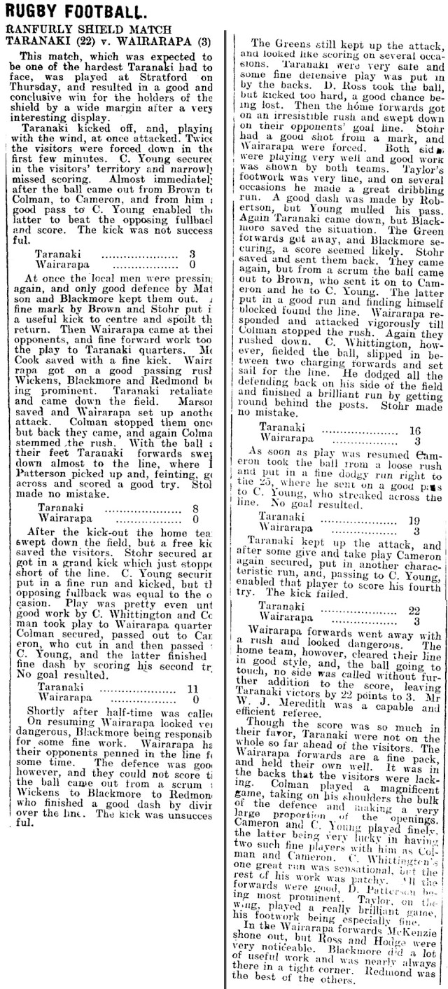 Match Report article as published Hawera & Normanby Star, Volume LXVIII, 14 August 1914