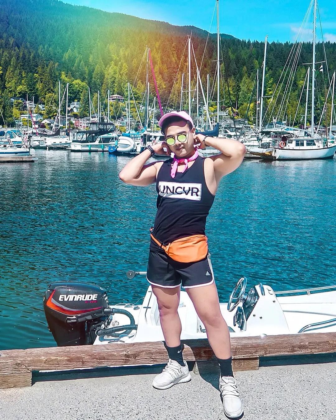 Festival Fashion Visiting Vancouver Jonathan Waiching Ho_Travel Blogger Influencer_Summer fashion men Canada Social Media Influencer_Adidas Shorts Summer Tank Vacay Style Beach Wear_Toronto Influencer Top Canada