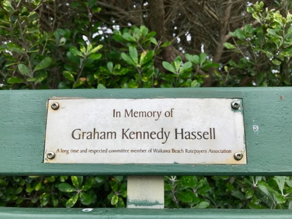 Graham Hassell memorial seat plaque.