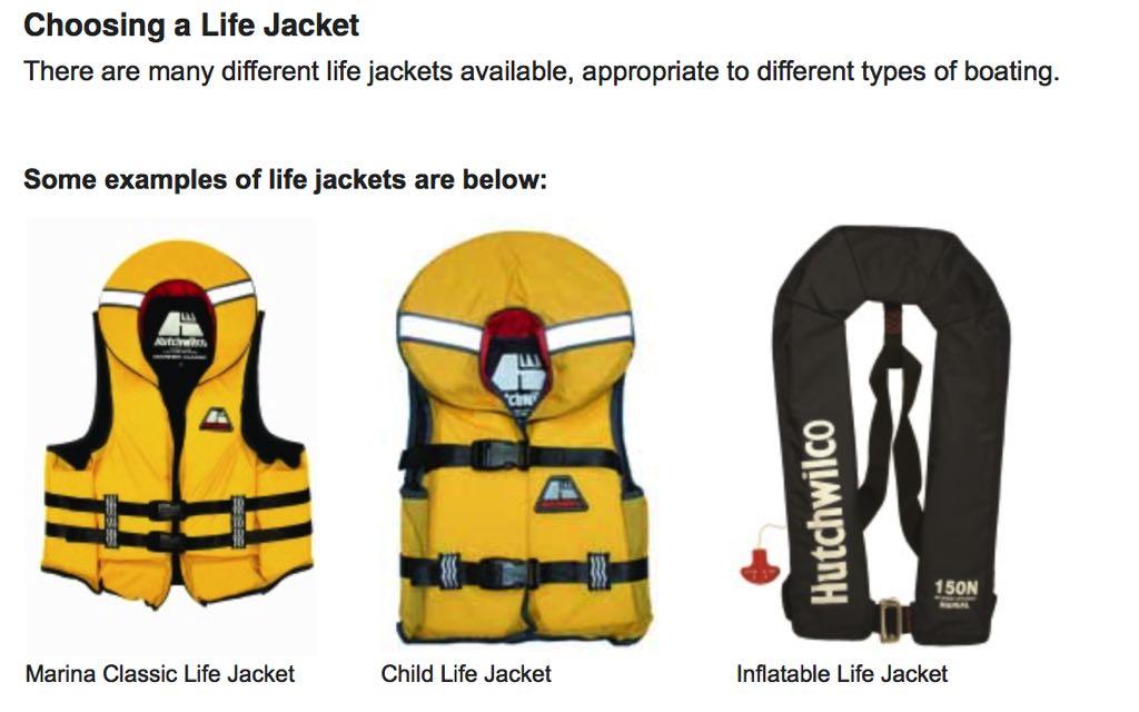 Lifejacket info from Maritime NZ.