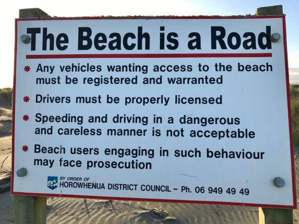 The beach is still a road.