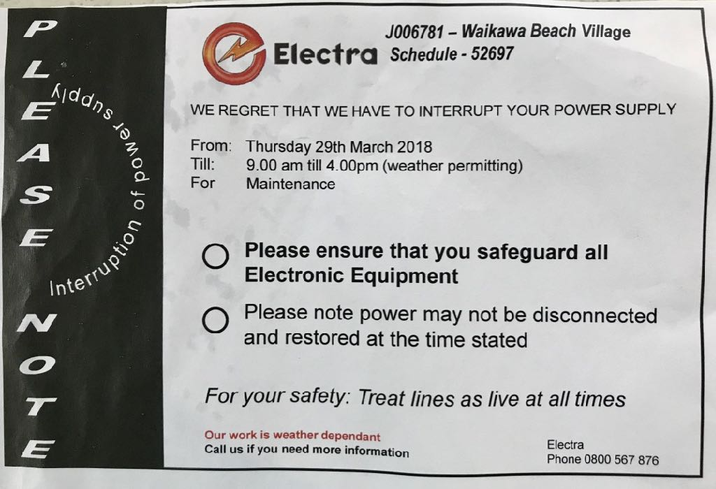 Electra outage notice 29 March 2018.