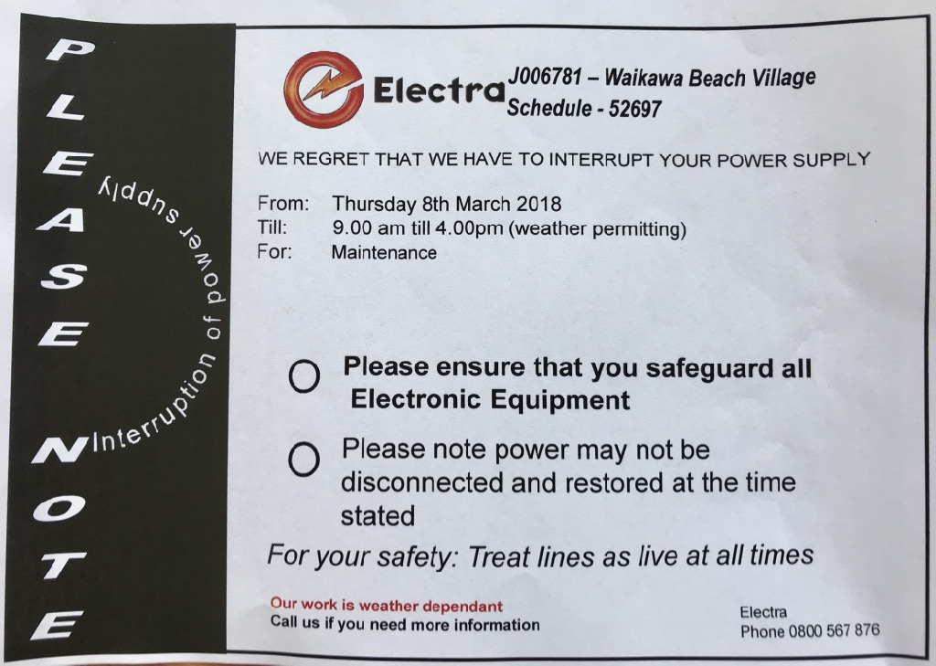 Power outage planned for 08 March 2018 all day.