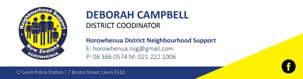 Deborah Campbell, Horowhenua District Neighbourhood Support.