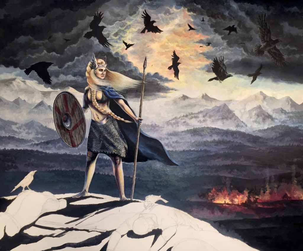 Painting of a Valkyrie in Progress by Rebecca Magar