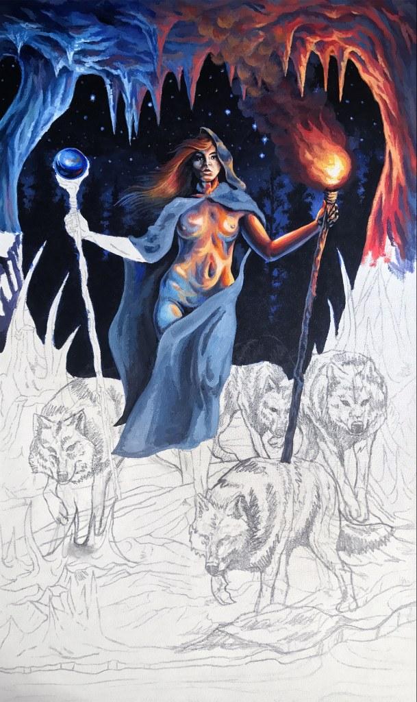 Two of Wands Dark Art Tarot by Rebecca Magar