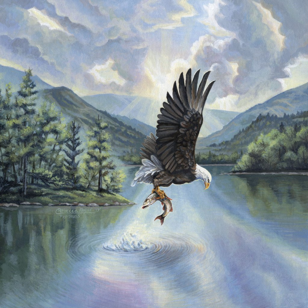 Eagle with Fish Painting - by Rebecca Magar