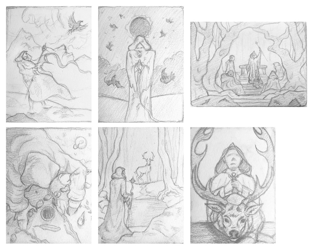 Seasons of Sacrifice - Initial Concept Sketches for Spring by Rebecca Magar