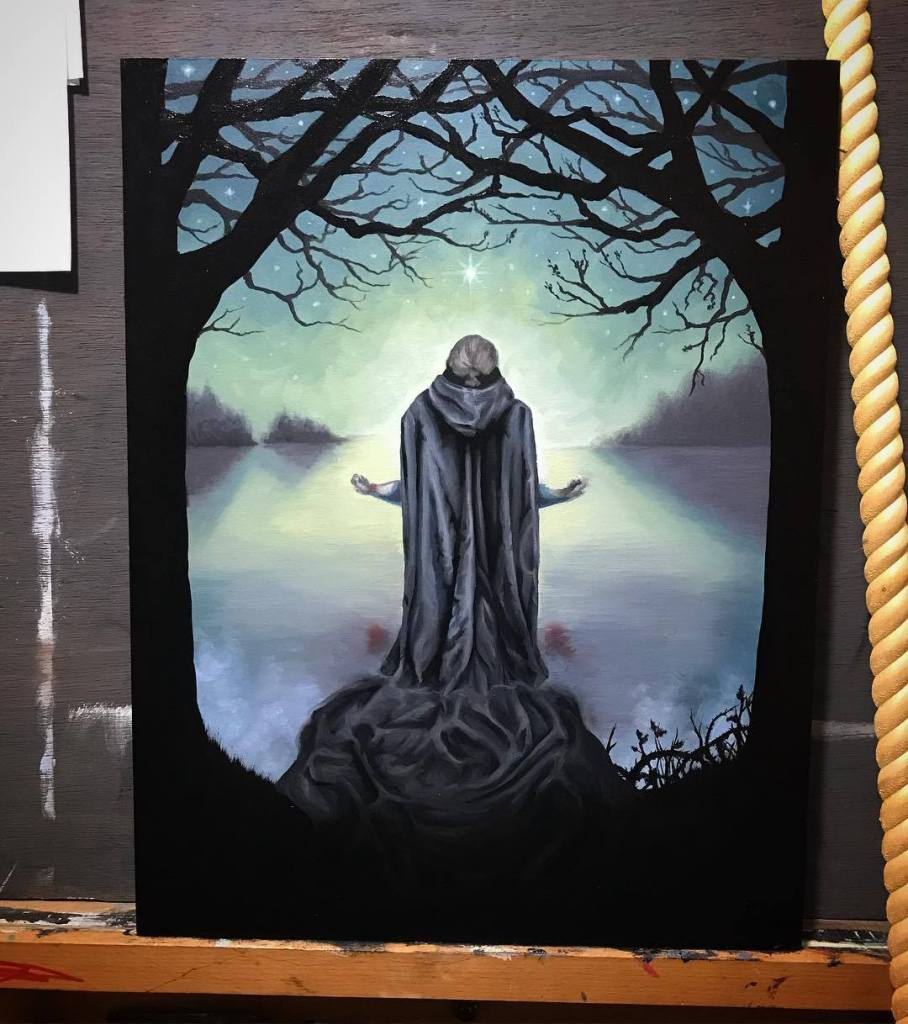 The Promise of Death Oil Painting in Progress by Rebecca Magar