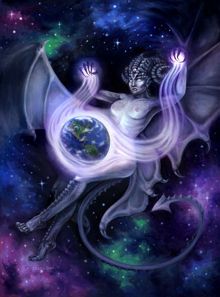 Otherworldly - Painting of a Succubus Space Faerie Casting a Spell on Earth by Rebecca Magar