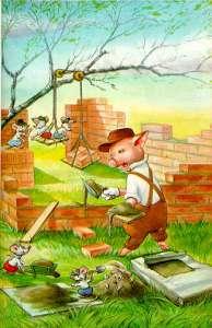 pig with bricks