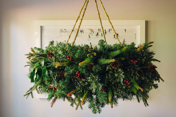 Hanging wreath chandelier tutorial waiting on martha besides the gorgeous vietri place settings that adorned my christmas day brunch table the other star of the show was the hanging wreath chandelier aloadofball Image collections