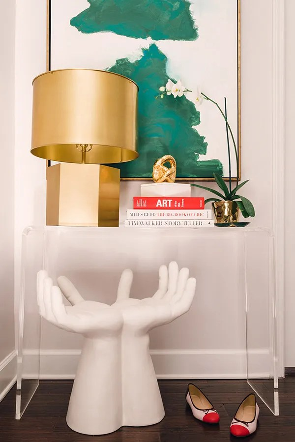 how to style a console table plus our most love white hand stool, Waiting On Martha