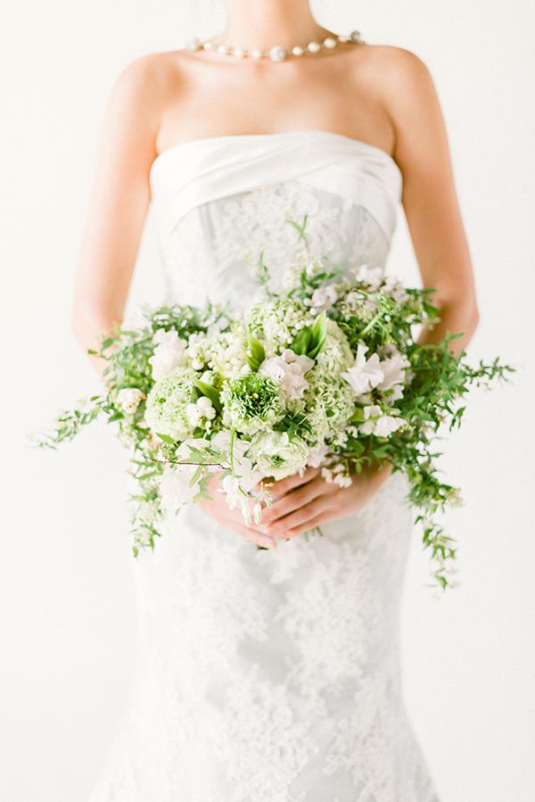 Blue bridal gowns and gorgeous bouquet