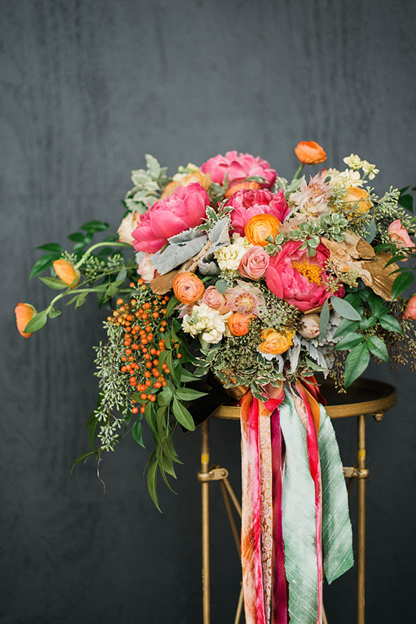 Bouquet with ribbons, Juli Vaughn Designs with Waiting on Martha for The Celebration Society. Rustic White Photography