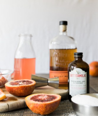 Mixing an Old Fashioned with Rhubarb