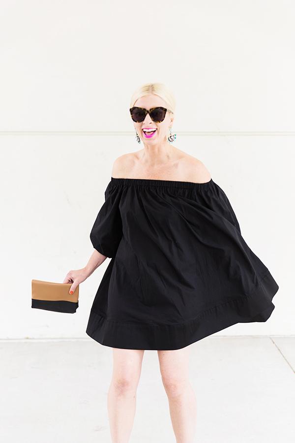 Black off the shoulder dress + Karen Walker sunglasses