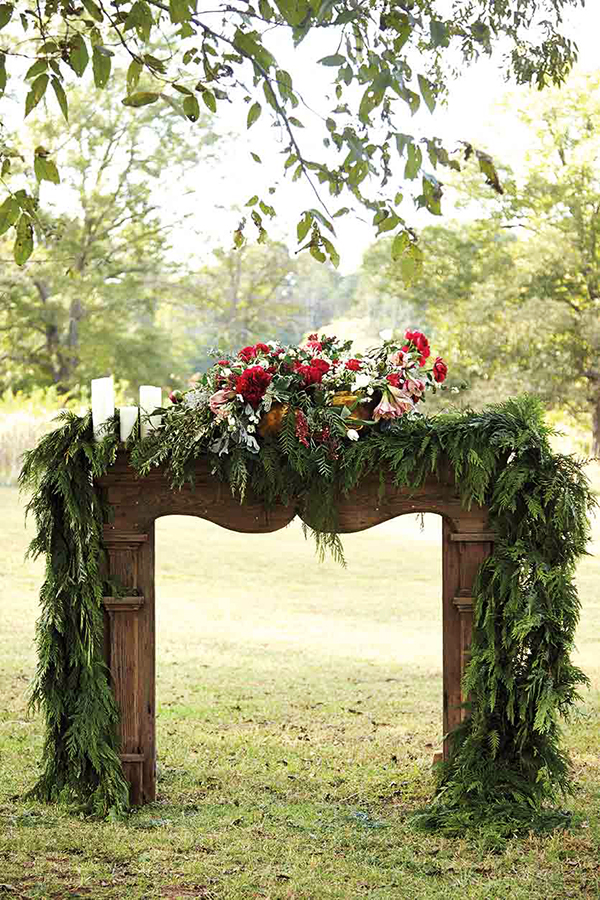 Rustic outdoor mantel by Lindsay Coletta Designs, Waiting on Martha
