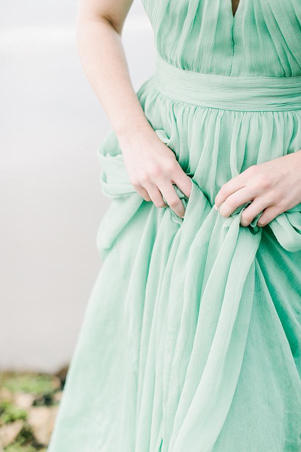 Seafoam green evening gown