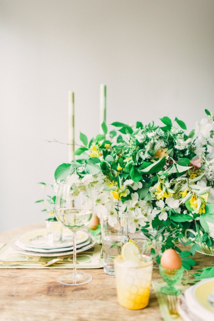 Rustic summer tablescape with lush green centerpiece