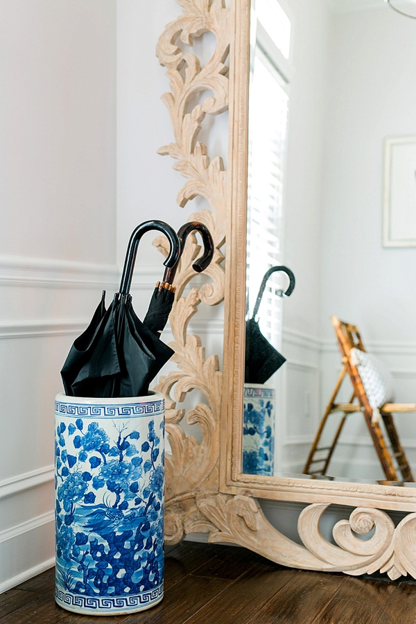 Ginger jar umbrella stand and entryway essentials via Waiting on Martha