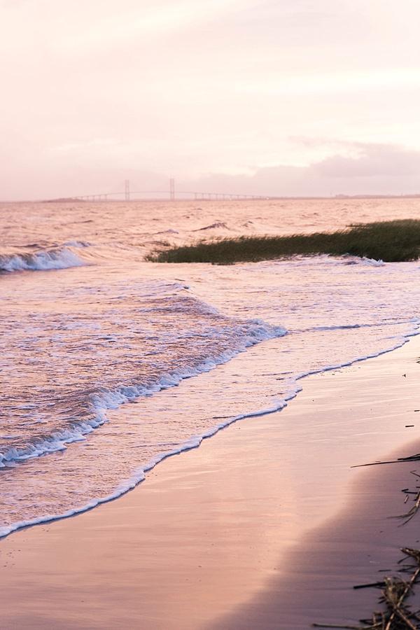 The shore at sunset via Waiting on Martha