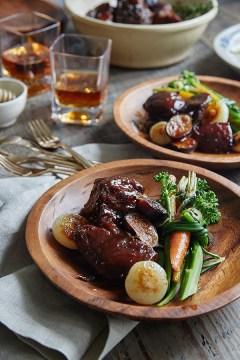 Bourbon Honey Braised Pork Shoulder recipe via Waiting on Martha