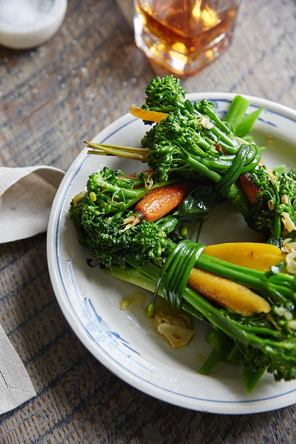 Roasted broccolini and carrot bundles via Waiting on Martha