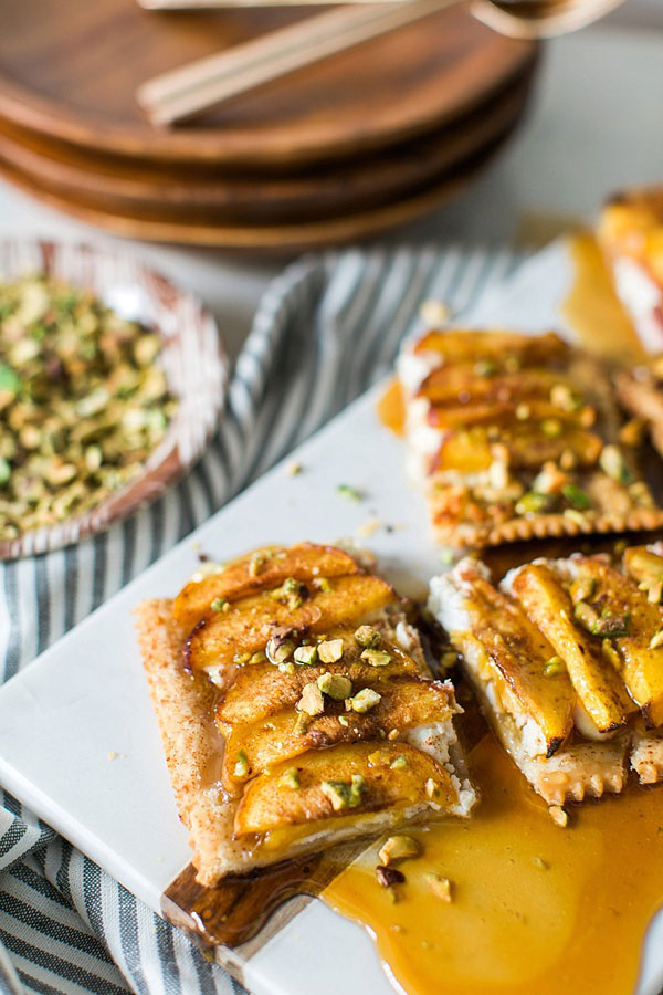 Peach Tart with Pistachio, Goat Cheese and Drizzled Honey
