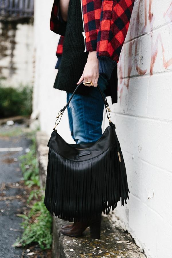 Black fringe bag from The Frye Company via Waiting on Martha #FRYEAtlanta #TheFryeLife
