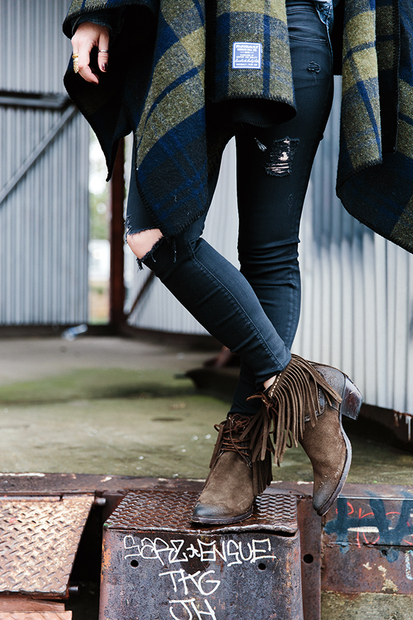 Brown fringe booties from @thefryecompany
