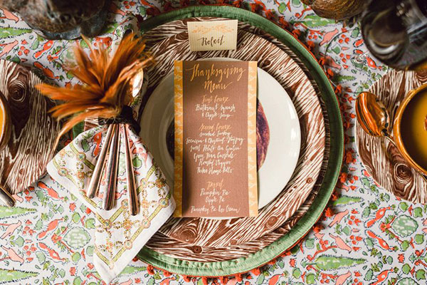 Southern Thanksgiving place setting and menu
