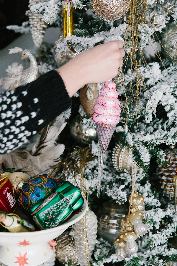 Ice cream cone Christmas tree ornaments + more via Waiting on Martha