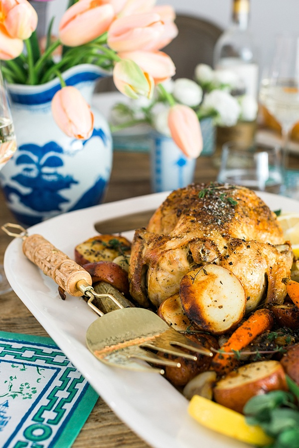 Lemony garlic roasted chicken recipe with herb vegetables