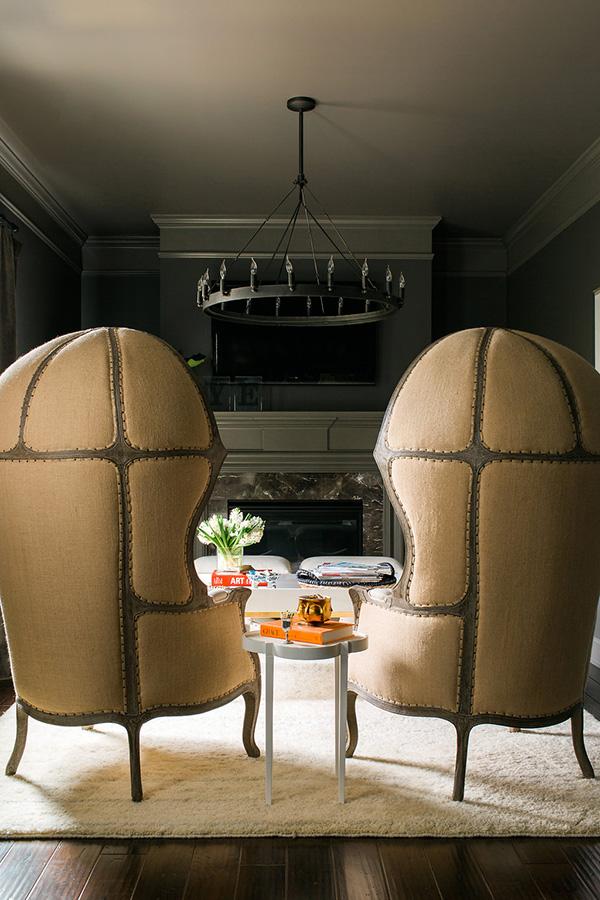 Dark grey sitting room with dramatic armchairs, Waiting on Martha #interiors #bedroom #coffeetable