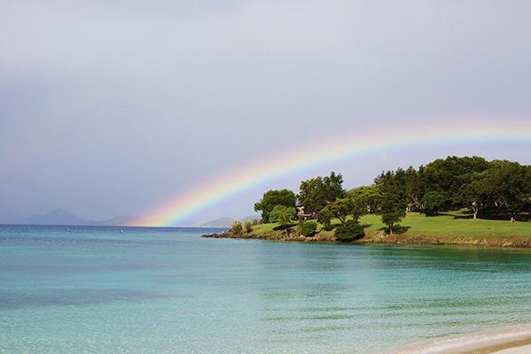 Beach rainbow on St. John