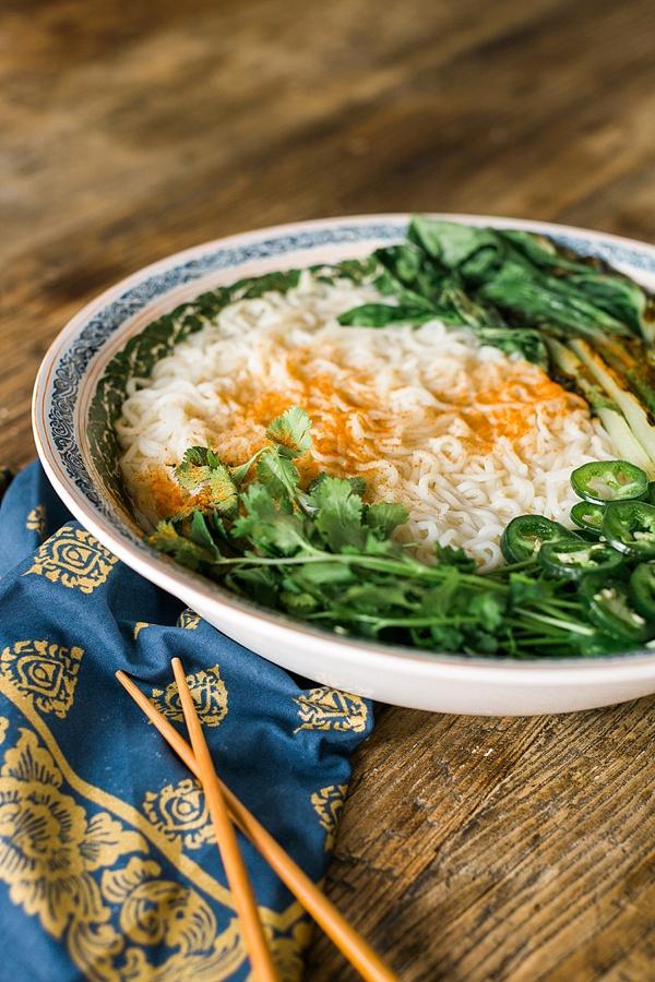 Spicy Vegetarian Ramen recipe via Waiting on Martha
