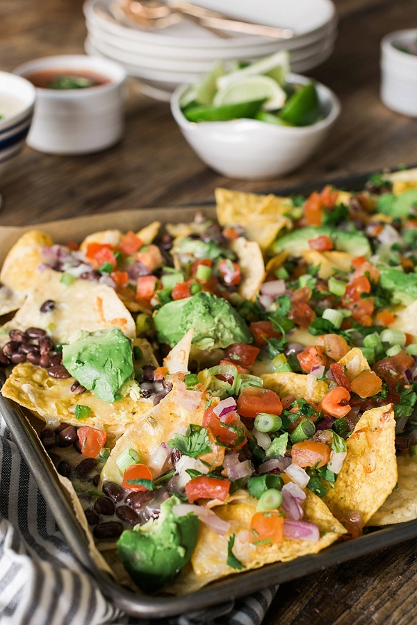 Loaded nachos with queso and fresh avocado recipe | waitingonmartha.com