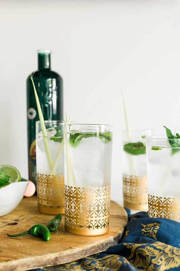 Lemongrass Gin Fizz cocktail recipe via Waiting on Martha