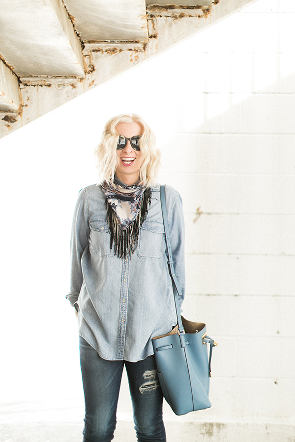 How to rock an all denim outfit via Waiting on Martha