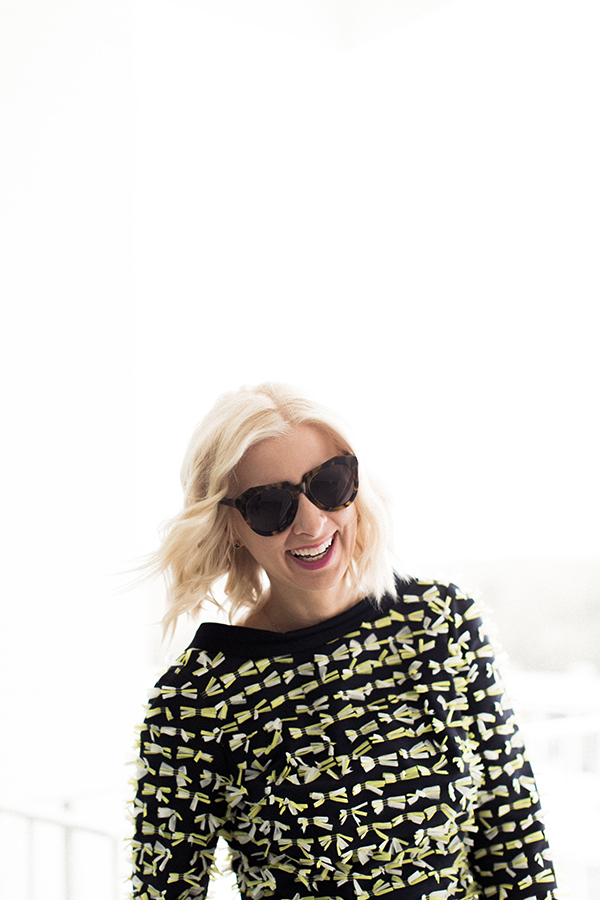 Black top with tiny yellow bows and Karen Walker sunglasses | waitingonmartha.com
