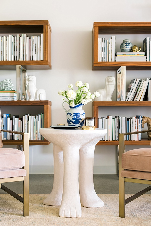 Bookshelf styling inspiration in Waiting on Martha's office