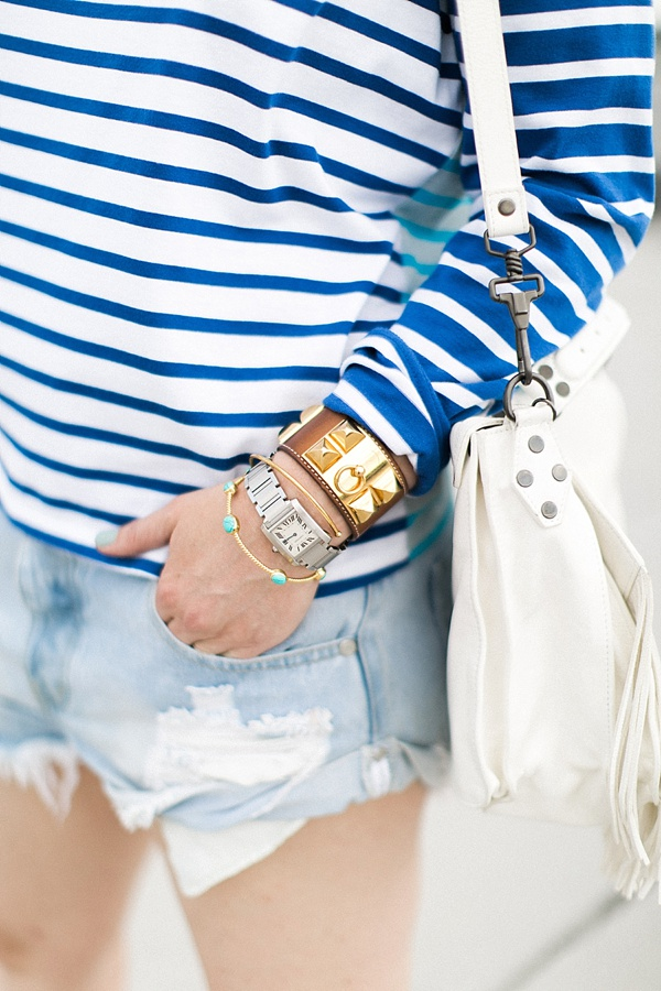 Blue summer stripes with jean shorts and arm stack