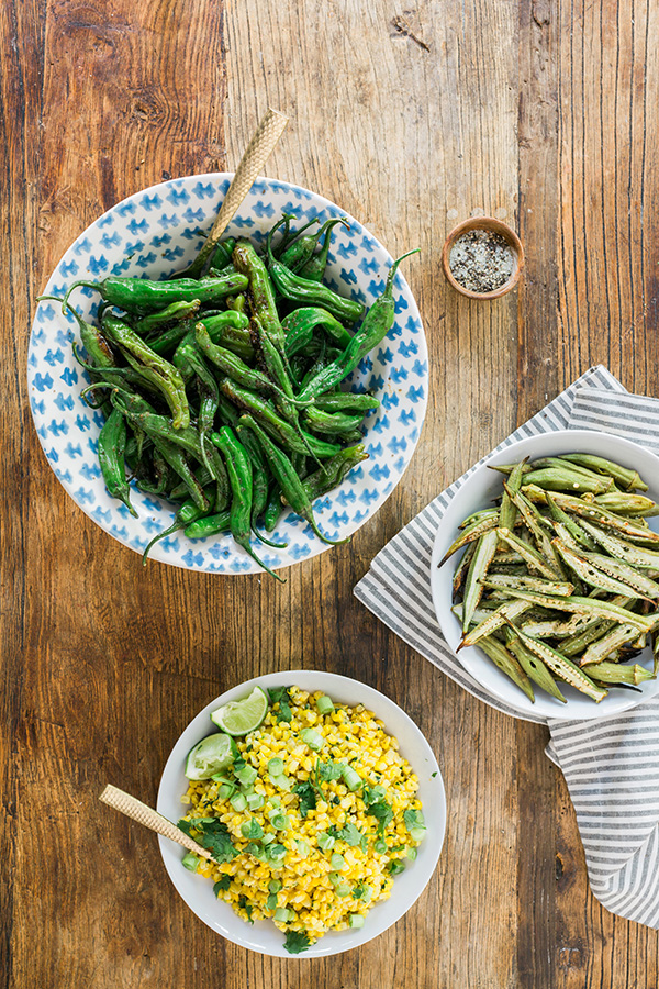 Grilled shishito peppers, grilled okra and corn salad, recipe by @waitingonmartha