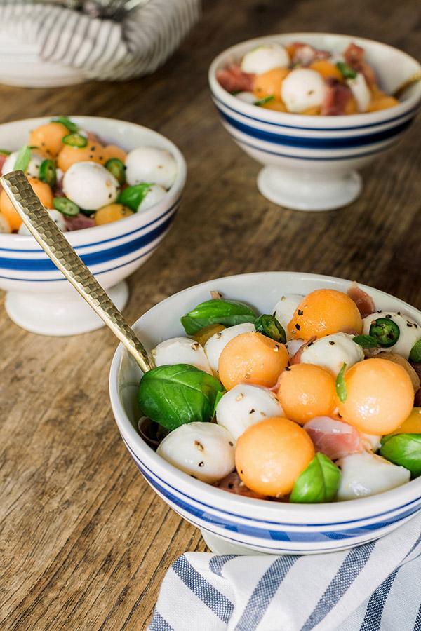 Fresh Mozzarella & Prosciutto Melon Salad