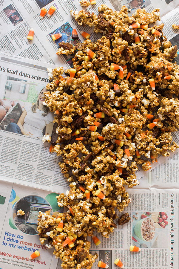 Homemade caramel corn with pecans and candy corn, the perfect recipe for fall, @waitingonmartha