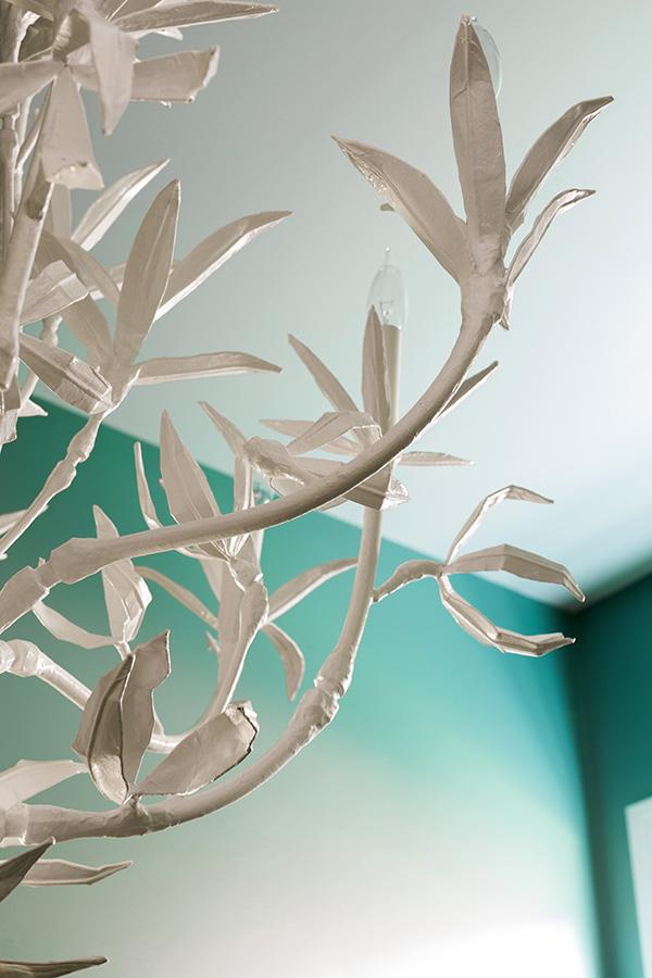 Statement chandelier by Stray Dog Designs in green bathroom | @waitingonmartha @behrpaint #spon #behrpaint