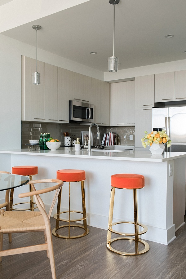 Orange velvet bar stools, @waitingonmartha